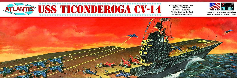 USS Ticonderoga CV-14 1/500 Angled Deck Aircraft Carrier Atlantis Toy and Hobby