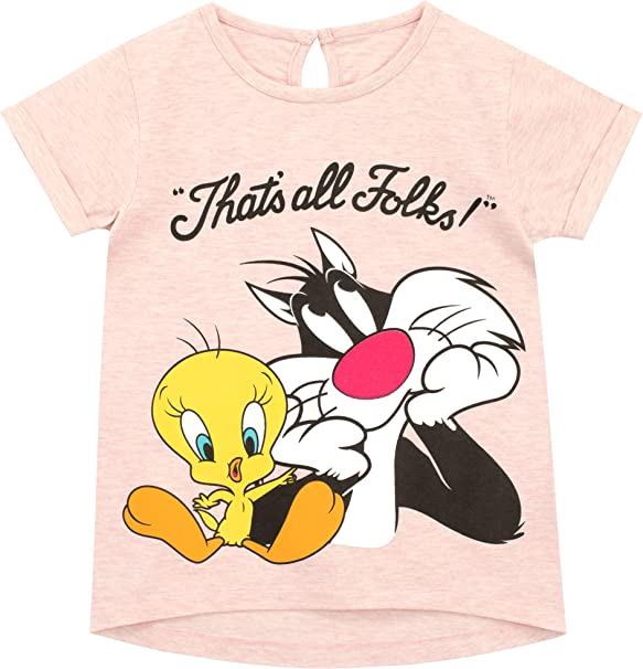 Looney Tunes Camiseta de Manga Corta para ni/ñas Piol/ín Sylvester y Tweety