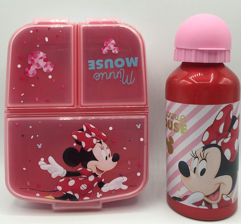 CM Set Botella de Agua de Aluminio Infantil y Fiambrera con 3 Compartimentos para Colocar los almuerzos - para niñas, cantimplora a Prueba de Fugas sin BPA 400ml (Rojo-MIN)