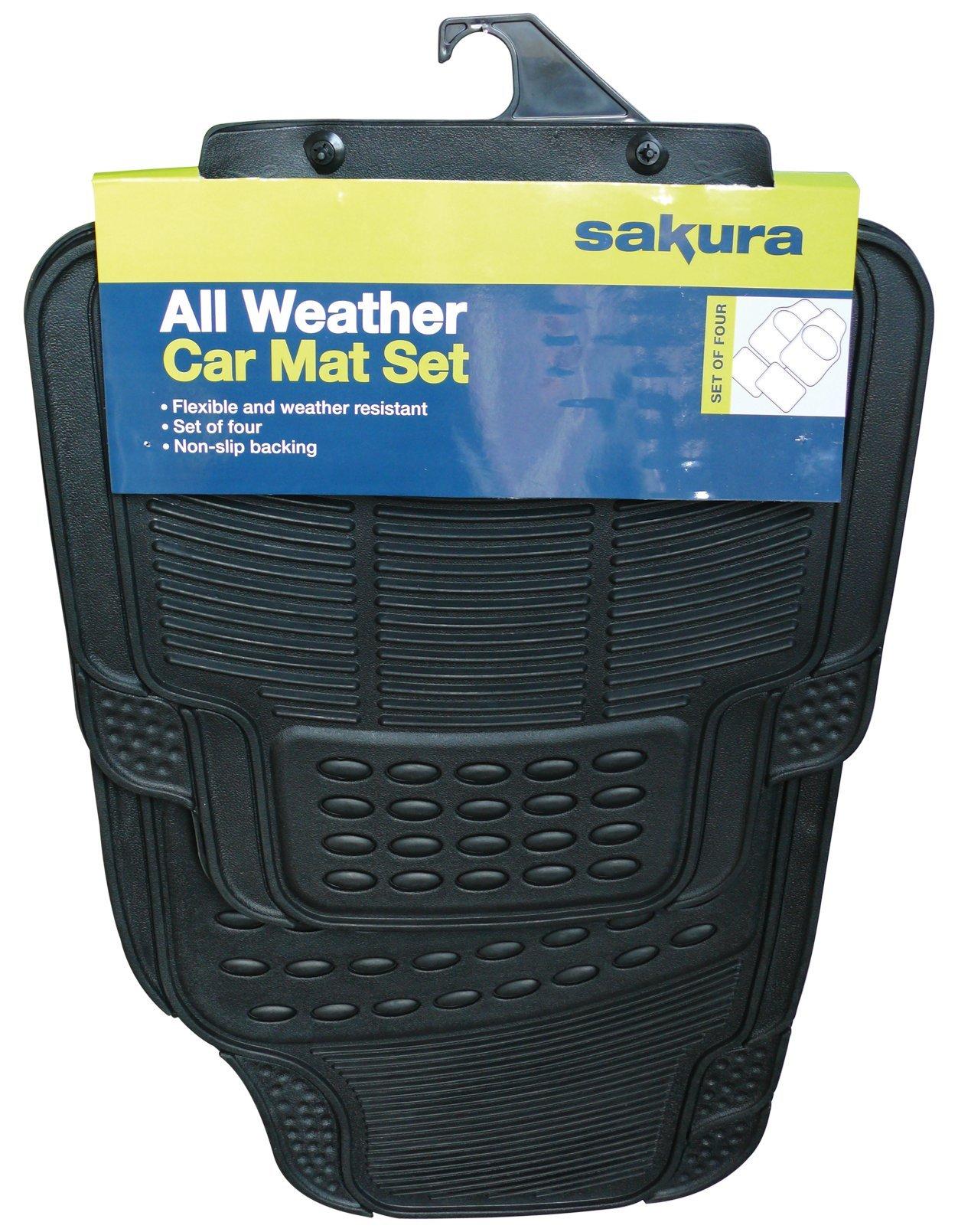 Sakura – Alfombrillas de goma universales para coche (versión conductor en lado izquierdo no garantizada