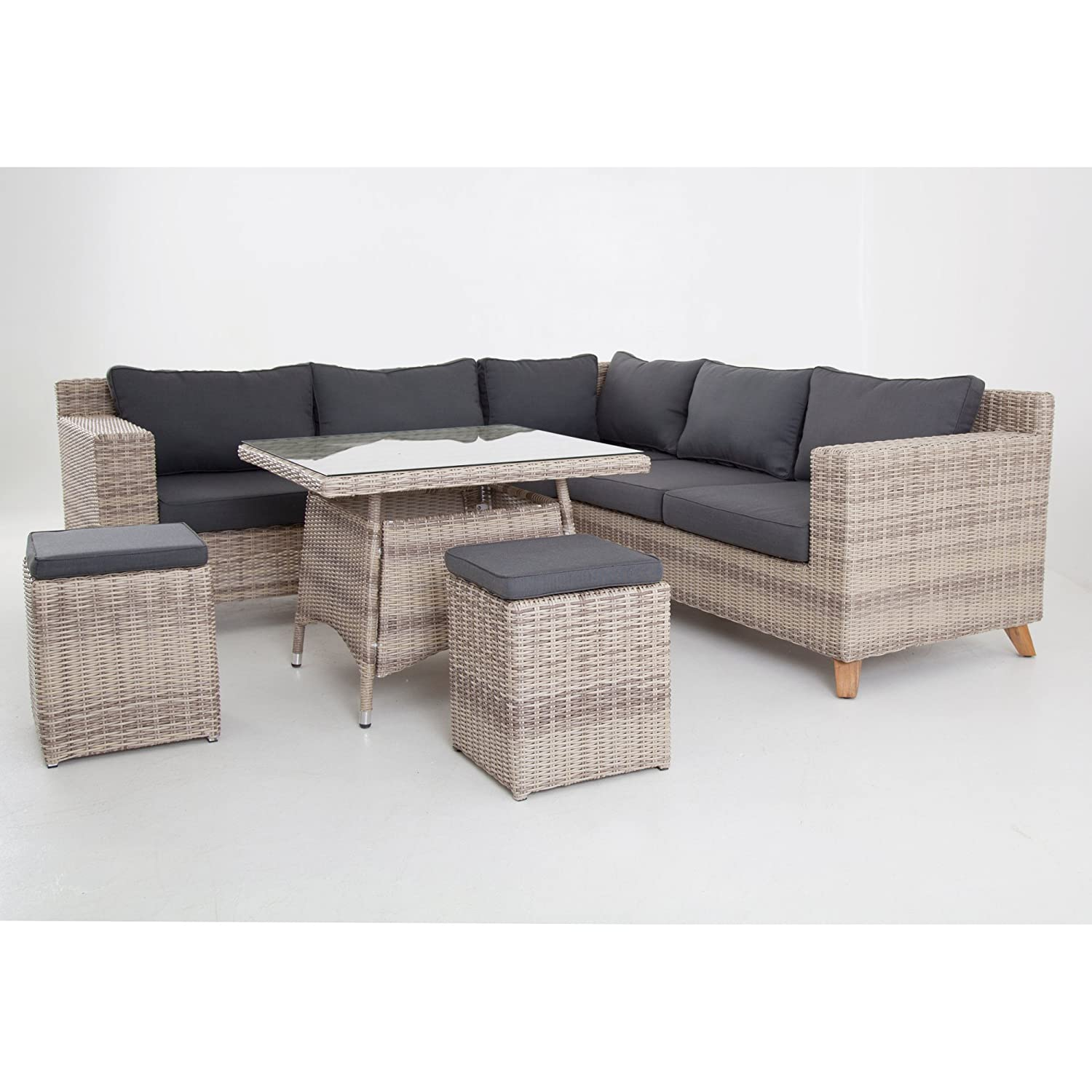 hochwertige tischgruppe in grau braun polyrattan ecklounge garten m bel poly rattan speisegruppe. Black Bedroom Furniture Sets. Home Design Ideas