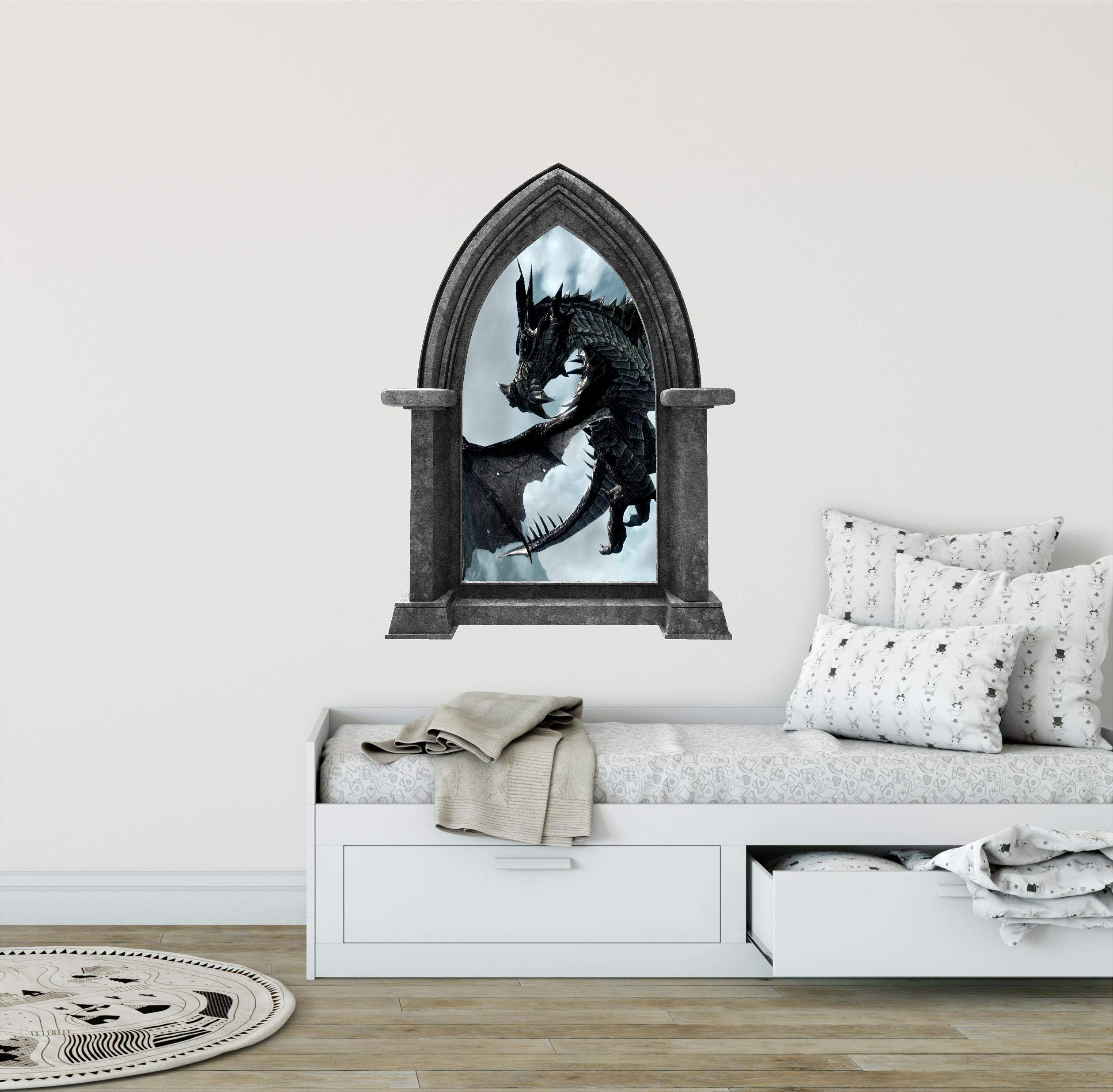 24'' Castle Scape Black Dragon #1 Granite Stone Castle Window Wall Decal Sticker Mural Medieval Mythical Fantasy Fairytale Game of Thrones Kids Playroom Wall Art Decor