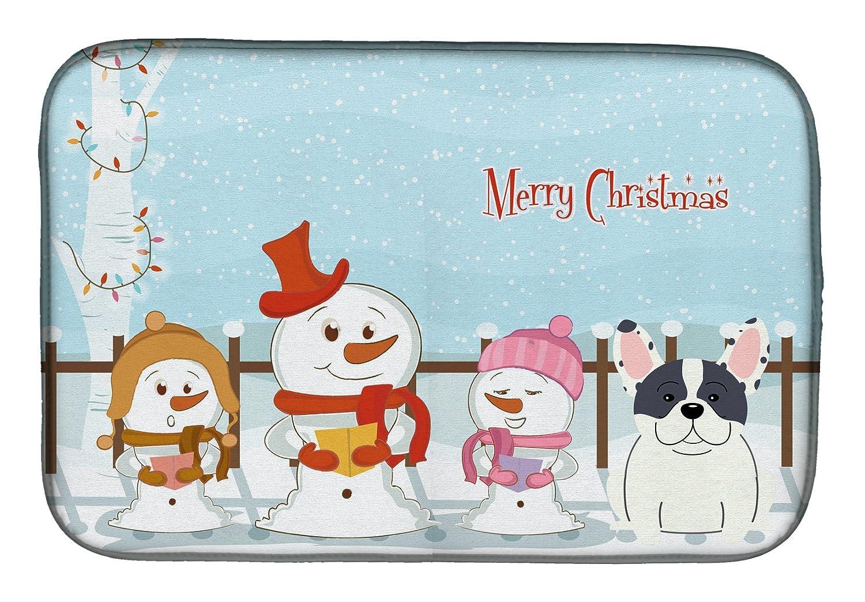 Caroline 's Treasures bb2342ddm Merry Christmas CarolersフレンチブルドッグPiebaldディッシュ乾燥マット、14