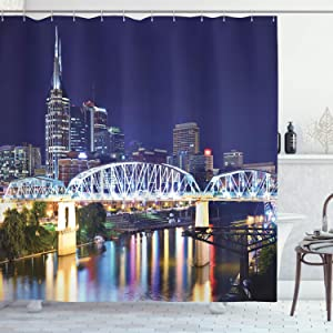 Apartment Decor Shower Curtain by Ambesonne, Skyline of Downtown Nashville Tennessee Reflection Travel Destination Image, Polyester Fabric Bathroom Decor Set with Hooks, Purple Green