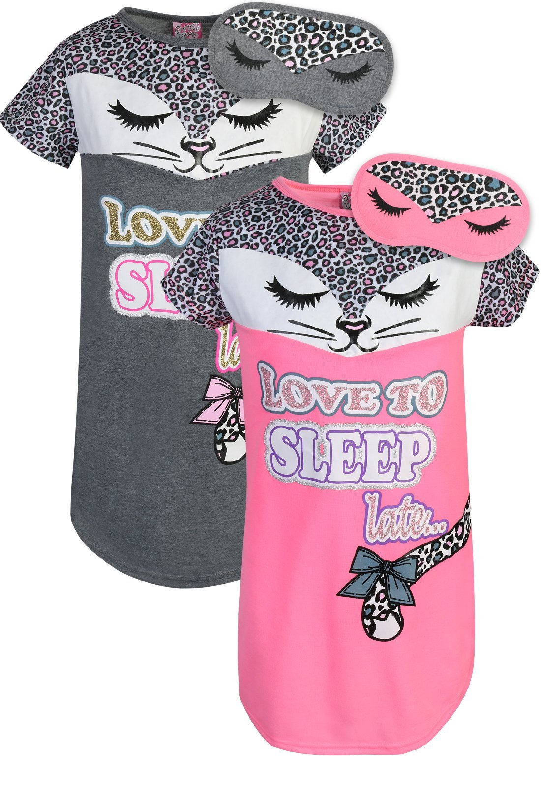 Sweet & Sassy Girls Short Sleeve Nightgown Pajama with Eye Mask (2 Pack) Love to Sleep, Size 12'