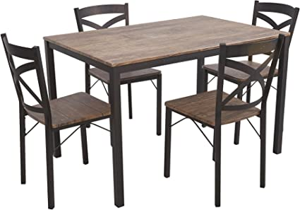 Dporticus 5 Piece Dining Set Industrial Style Wooden Kitchen Table And Chairs With Metal Legs Espresso Table Chair Sets Amazon Com