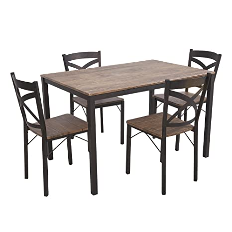 Fabulous Dporticus 5 Piece Dining Set Industrial Style Wooden Kitchen Table And Chairs With Metal Legs Espresso Download Free Architecture Designs Rallybritishbridgeorg