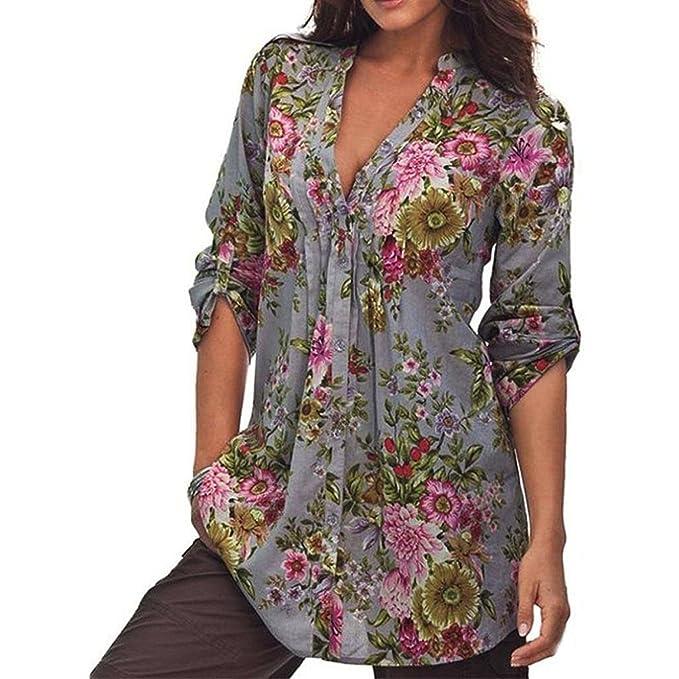 Mujer Camiseta Floral - Retro Manga Larga Tunic Blusa Moda Cuello EN V Camisetas Casual Loose
