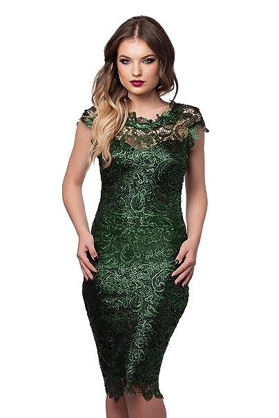 Miss Grey Mujer Elegante Vestido De Fiesta Encaje Bordado Espalda Descubierta Sin Mangas Lápiz Midi Verde