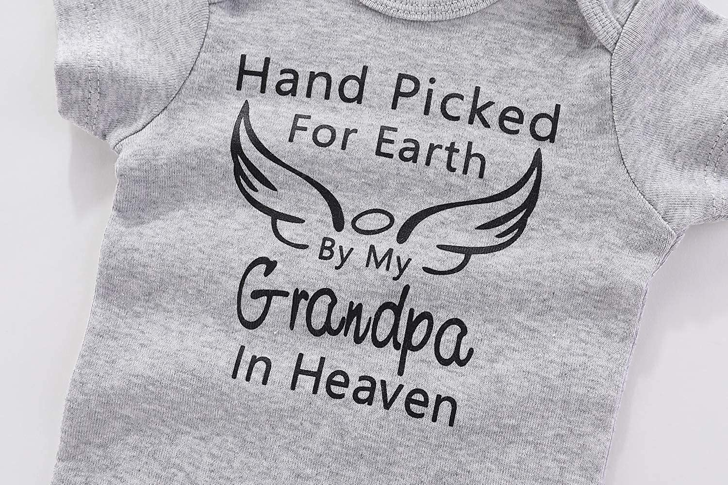 WINZIK Baby Bodysuit Hand Picked for Earth by My Grandpa in Heaven Romper Newborn Boy Girl Cotton One-Piece Outfit Clothes