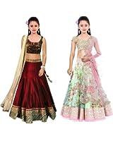 Market Magic World Girl's Maroon & Pista Banglori, Bhagalpuri Semi Stitched Combo Pack lehenga Choli, Salwar Suit, Gown (Kids Wear_Free Size_8-12 Year age)