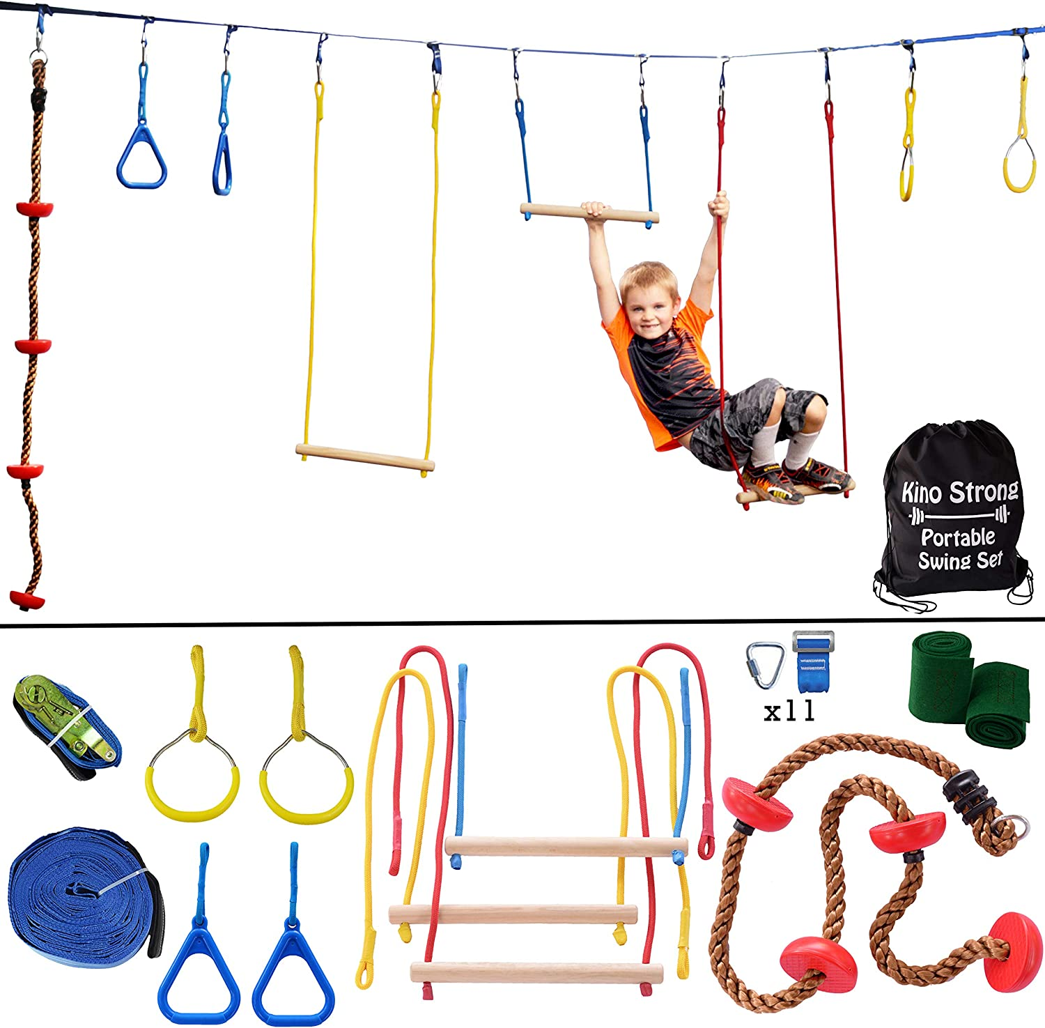 Ninja Hanging Obstacle Course - Portable 40' Slackline Monkey Bar Kit with 8 Swinging Obstacles - Climbing Rope, 4 Rings, 3 Monkey Bars - 250lb Capacity Backyard Playground Equipment Swing Set