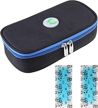 Bolsa térmica de viaje con pantalla de temperatura, bolsa de viaje para diabéticos, organizador de insulina, con 2 paquetes de frío, 20,5 x 10 cm: Amazon.es: Salud y cuidado personal