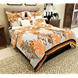 Home Candy Elegant 144 TC Cotton Double Bedsheet with 2 Pillow Covers -Mustard Yellow