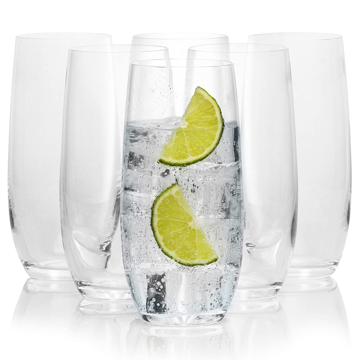 European Quality Luxury Standard 11.8 Ounces 350 Milliliters Bohemia Crystal Tall Highball Drinking Glasses Set of 6 Chip Resistant and Crystal Clear Glassware Tall