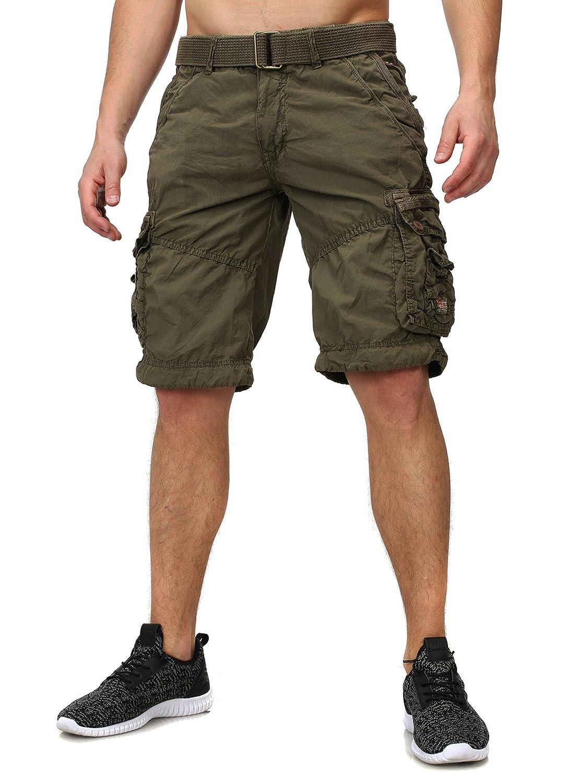 Geographical Norway Hombres Bermudas PALMIER Cargo Busque con muchos Details inklusive Cinturón corta Pantalones