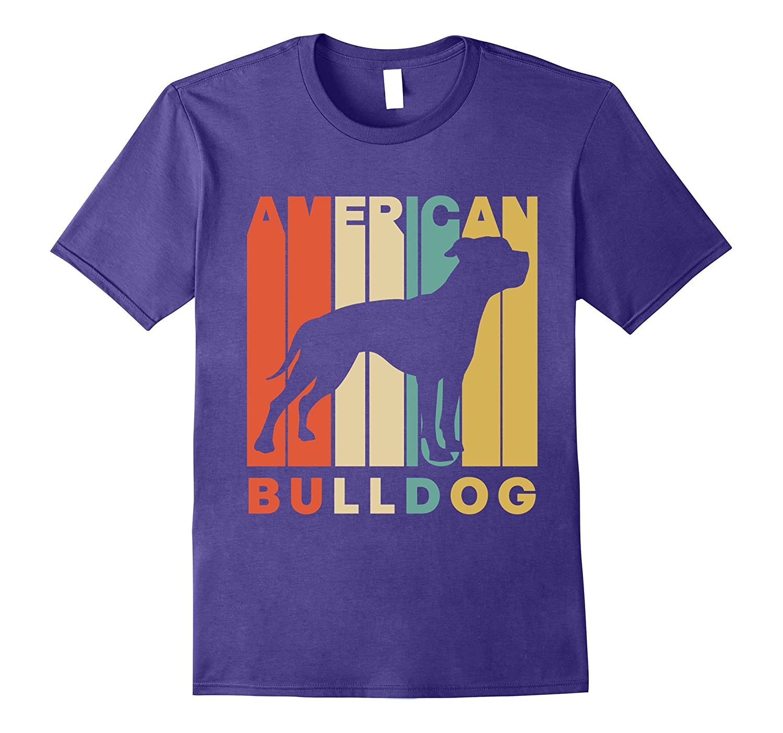 Vintage Style American Bulldog Silhouette T-Shirt-Awarplus