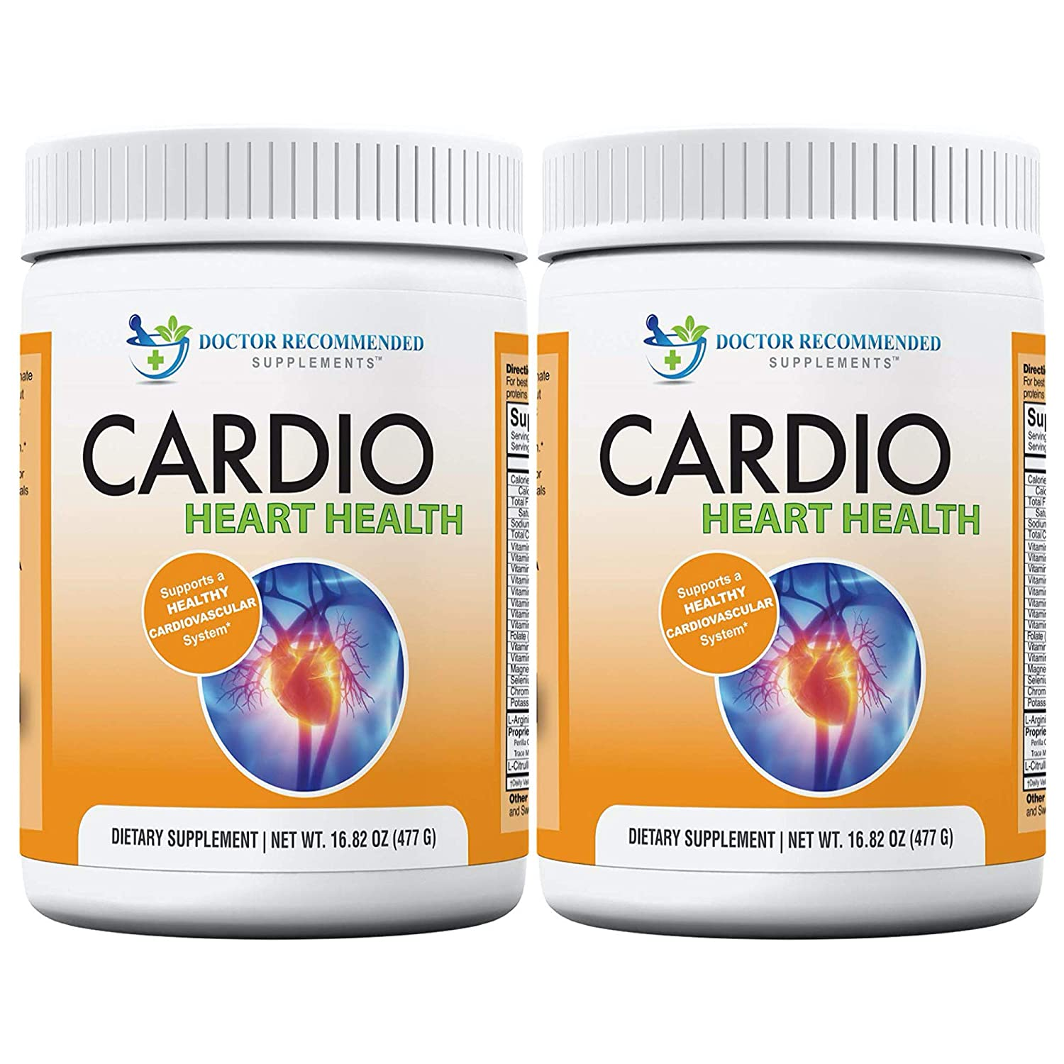 Cardio Heart Health-L-Arginine Powder Supplement-5000mg Plus 1000mg L-Citrulline-with Minerals, and Antioxidants Vitamin C E-Total Cardiovascular System Health-Formulated by Real Doctors 2 Pack