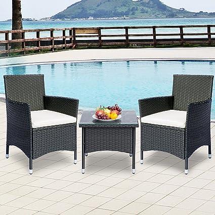 Amazoncom Leisure Zone 3 Piece Rattan Wicker Patio Furniture Sets