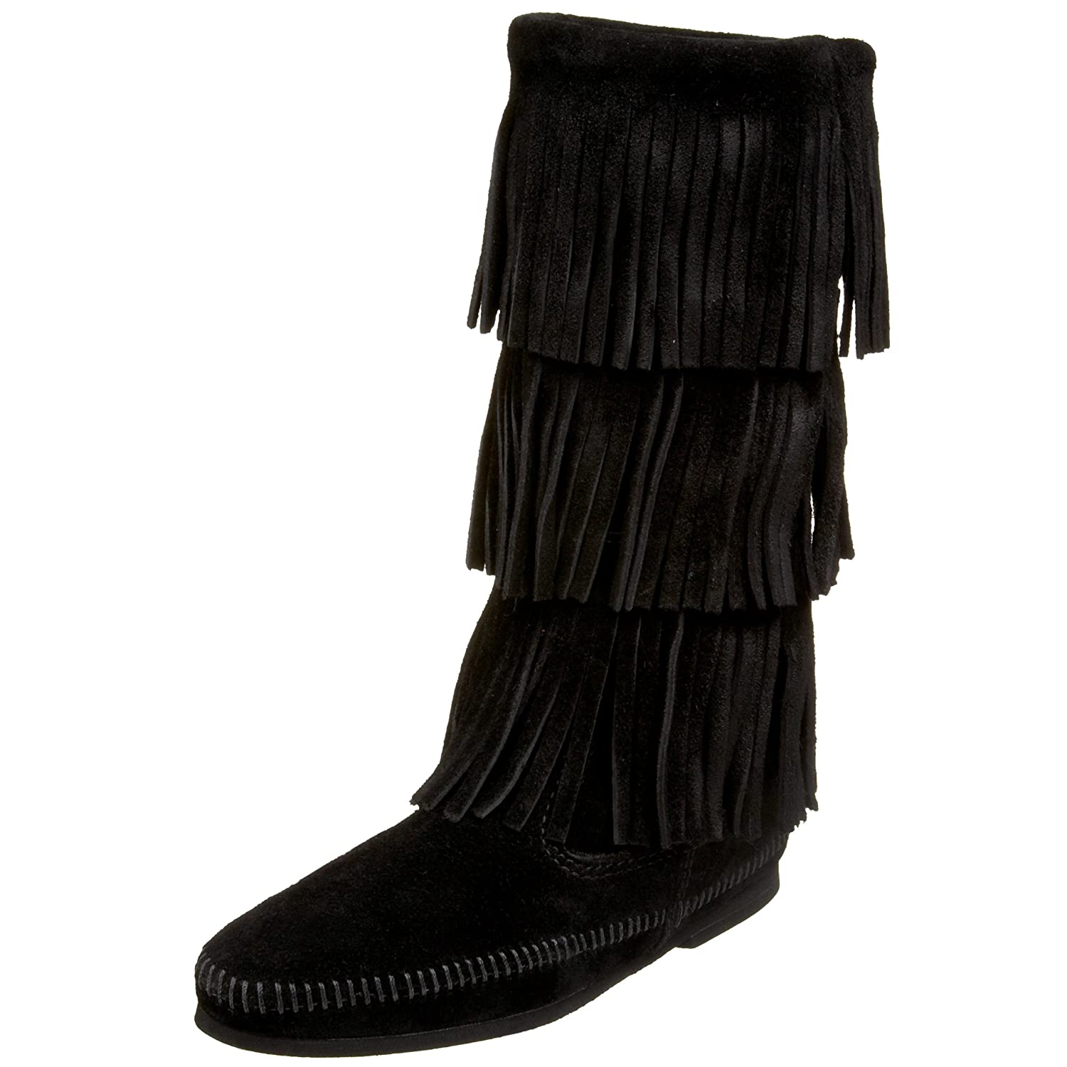 Minnetonka Women's 3-Layer Fringe Boot / B078KRZD3Q 37-38 M EU / Boot 7 B(M) US|Black 521347