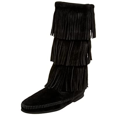 Amazon.com | Minnetonka Women\'s 3-Layer Fringe Boot | Mid-Calf
