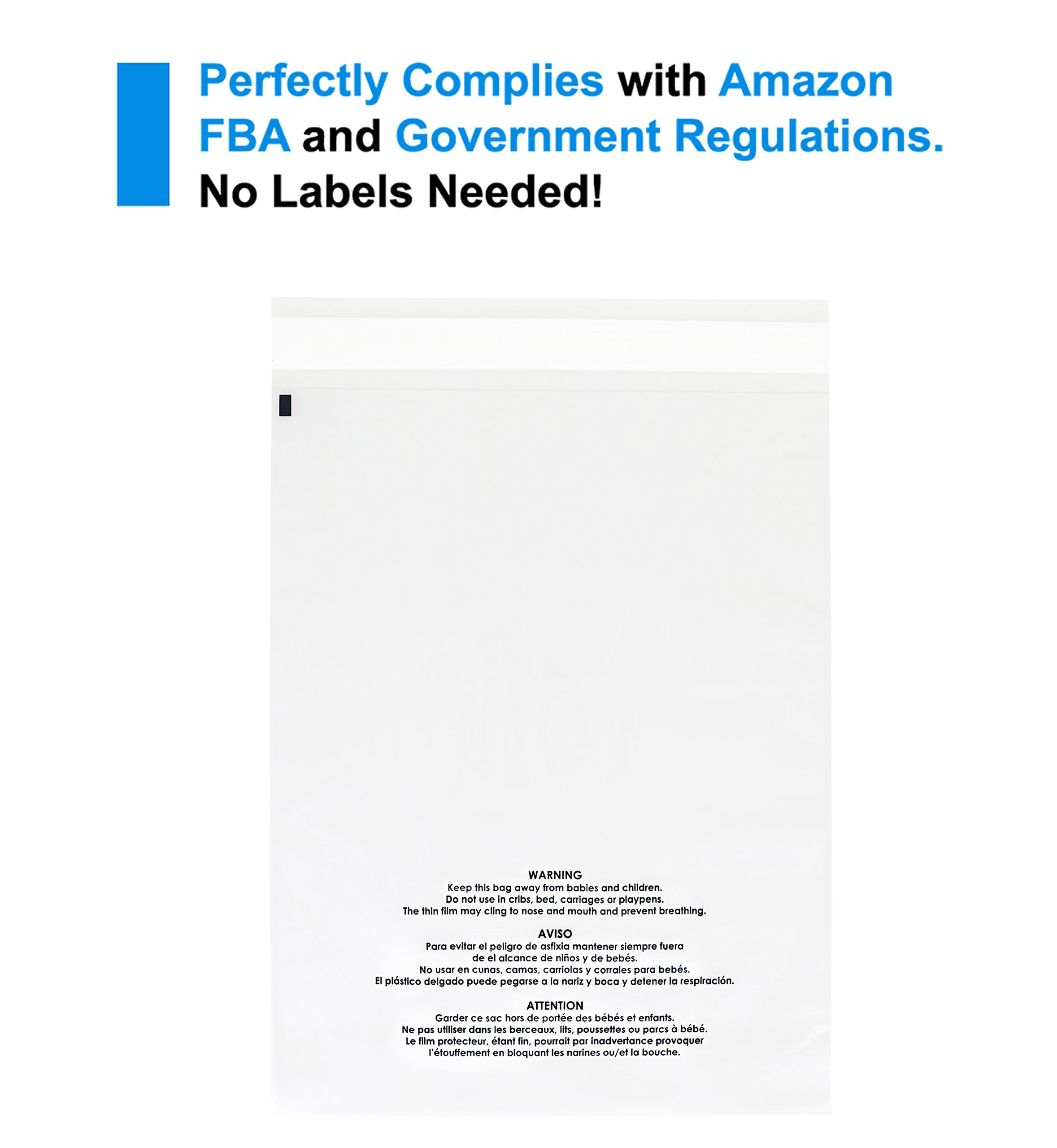 100 Count - 9 X 12 Self Seal 1.5 Mil Clear Plastic Poly Bags with Suffocation Warning - Permanent Adhesive by Spartan Industrial (More Sizes Available) by Spartan Industrial (Image #7)