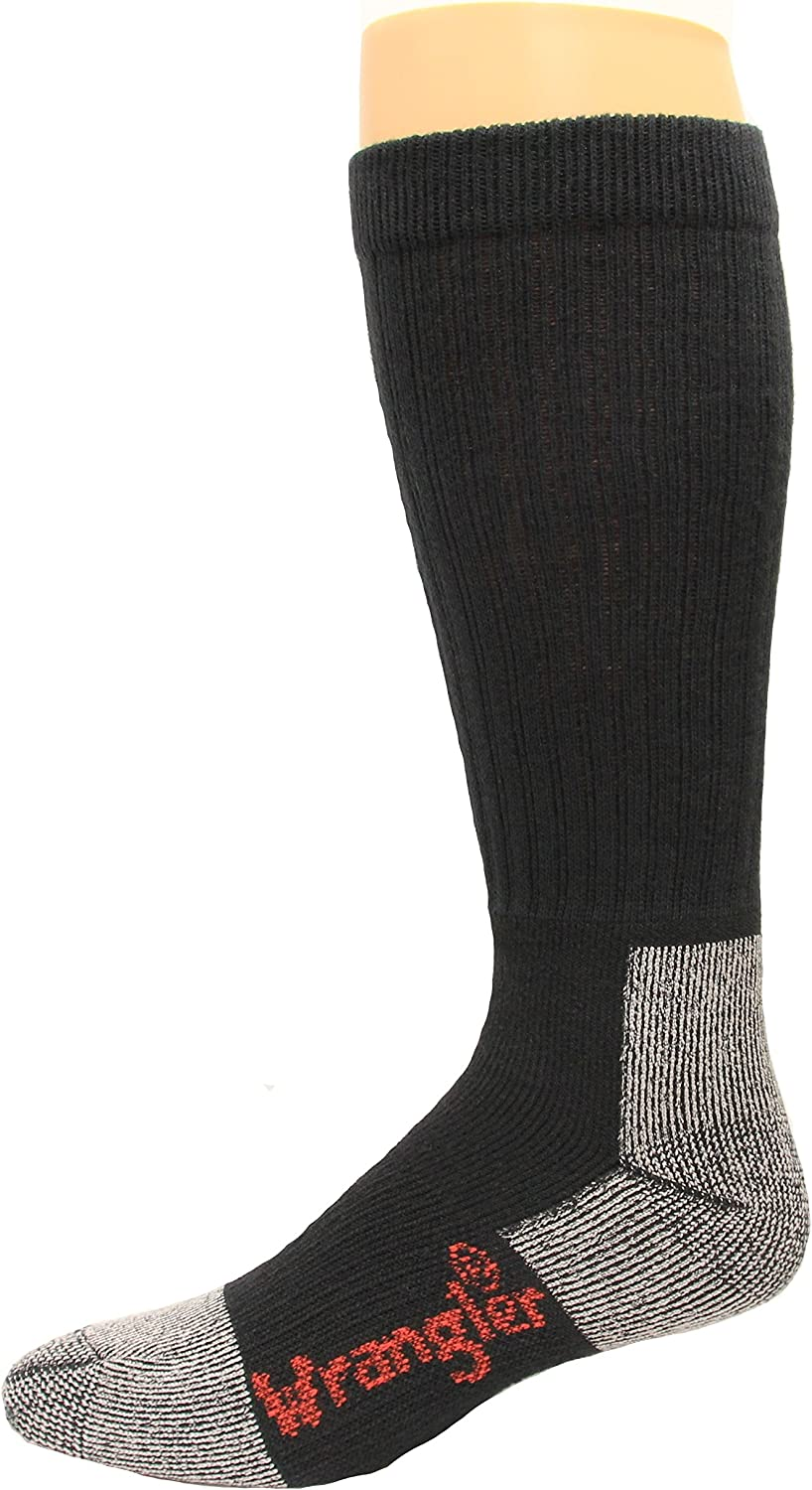 Riggs Cotton Work Boot Socks Over The Calf, Black, Lrg (M 9-13), 2 Pair