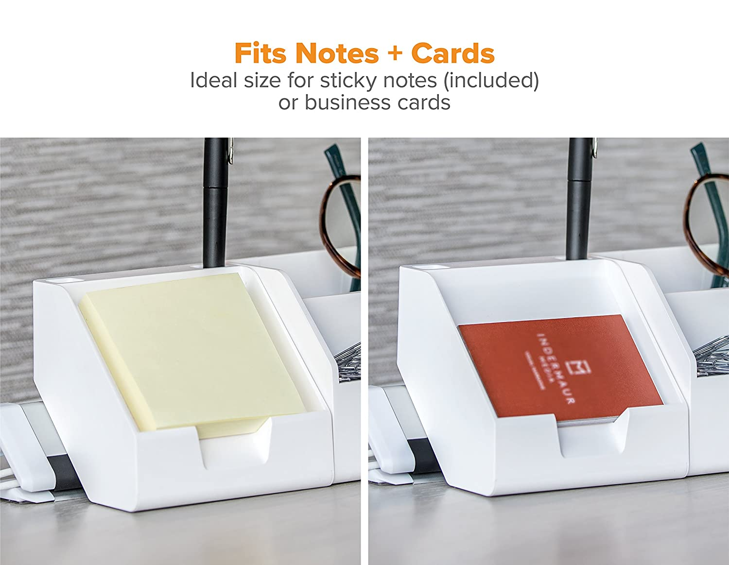 Bostitch Konnect Sticky Note Holder Includes Pen Holders Business Card Stand