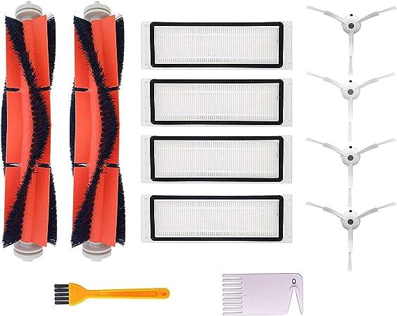 Accesorios para Xiaomi Mi Robot Vacuum Aspirador, Repuestos para Xiaomi Mijia Robot Roborock Vacuum Cleaner, 4 Cepillo Lateral, 2 Cepillo Principal, 4 Filtro HEPA: Amazon.es: Hogar