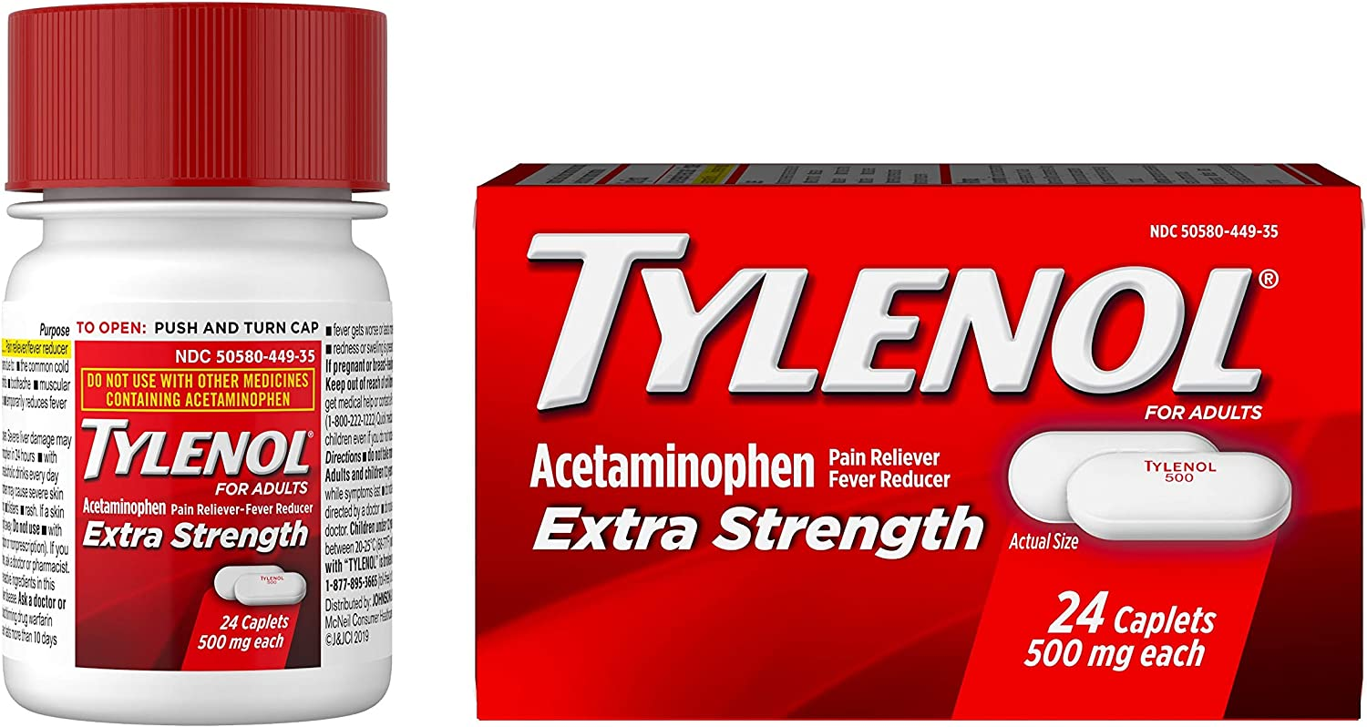 Tylenol Extra Strength Caplets with 500 mg Acetaminophen, Pain Reliever & Fever Reducer, 24 ct: Health & Personal Care