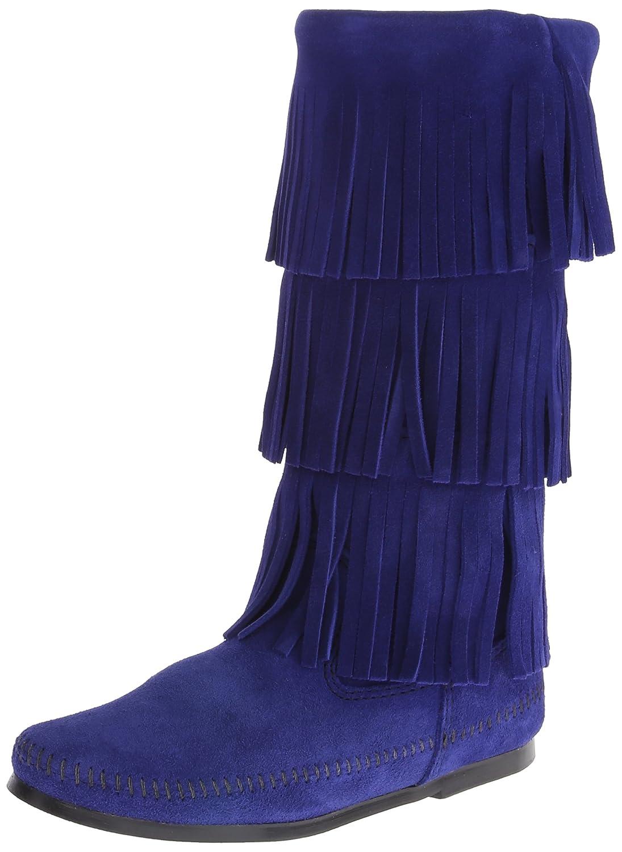 Minnetonka Women's 3-Layer Fringe Boot B00I0ERHRM 5 B(M) US|Blue Violet