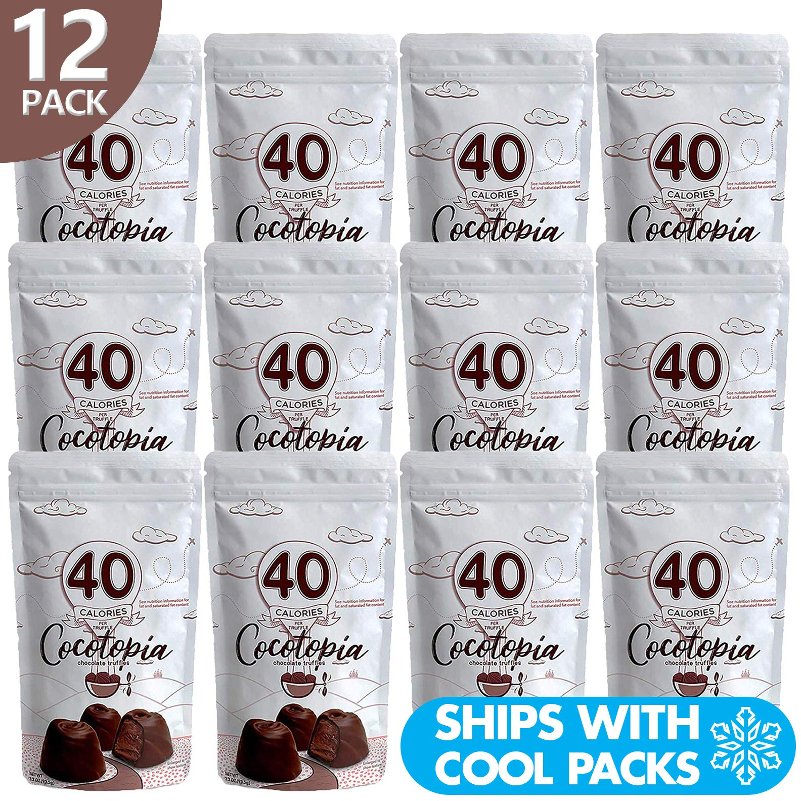 12 Pack of Cocotopia Chocolate Truffles   Fewer Calories   Less Fat   Less Sugar   Resealable Bag   3.3 OZ per Pouch