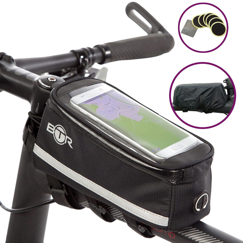 BTR Deluxe borsa porta cellulare da telaio bici, borse bicicletta – Impermeabile garantisce la protezione al 100% di TUTTI i tuoi oggetti dalla pioggia – adatta a TUTTE le biciclette