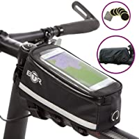 BTR Bicycle Frame Bike Bag & Mobile Phone Holder & Bike Phone Mount – with Option to add Waterproof Cover. Mobile Phone Mount & Smartphone Bike Mount Bike Accessory For Men & Women. + 6 Puncture Repair Patches