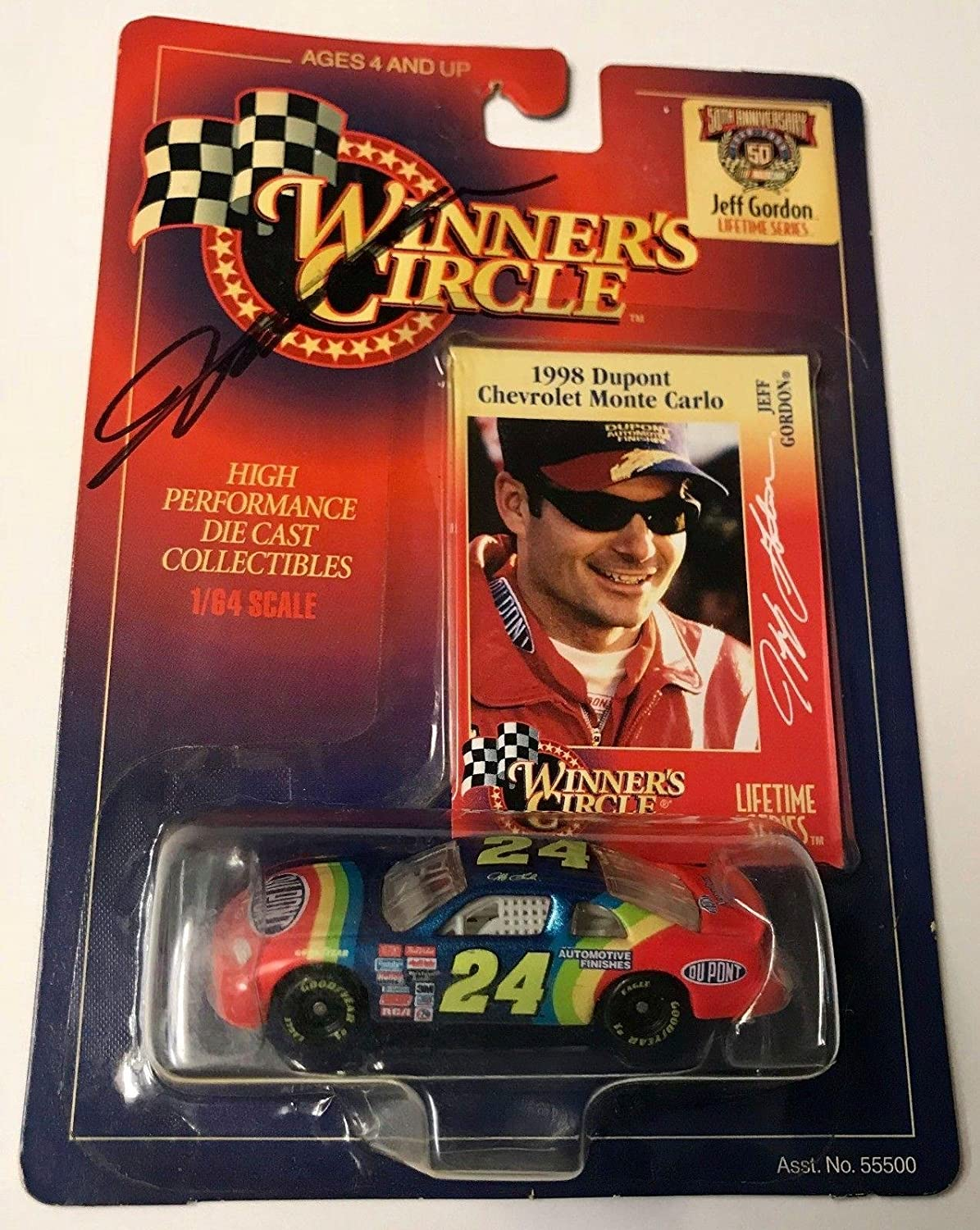 1997 Winners Circle Jeff Gordon 1998 Dupont Automotive Signed 1/64 Diecast Car - Autographed Diecast Cars Sports Memorabilia