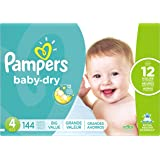 Pampers Baby Dry Diapers, Size 4, 144 Count