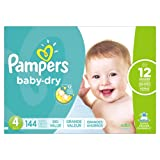 Amazon Price History for:Pampers Baby Dry Diapers, Size 4, 144 Count