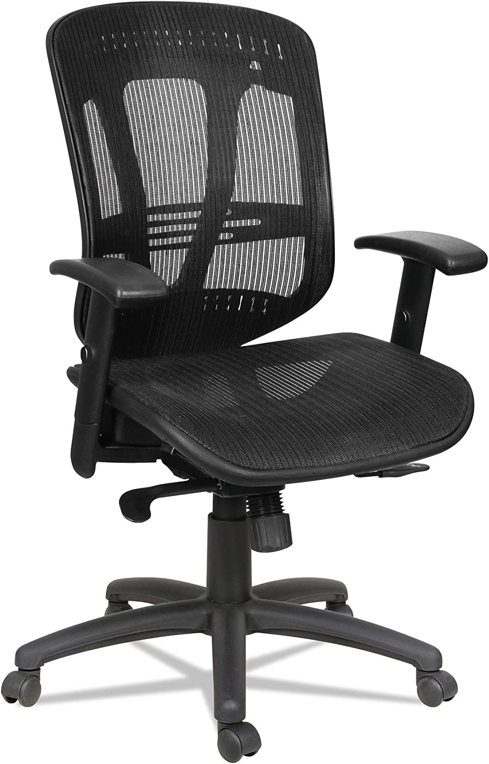 Alera Eon Series Multifunction Wire Mech, Mid-Back Suspension Mesh Chair, Black