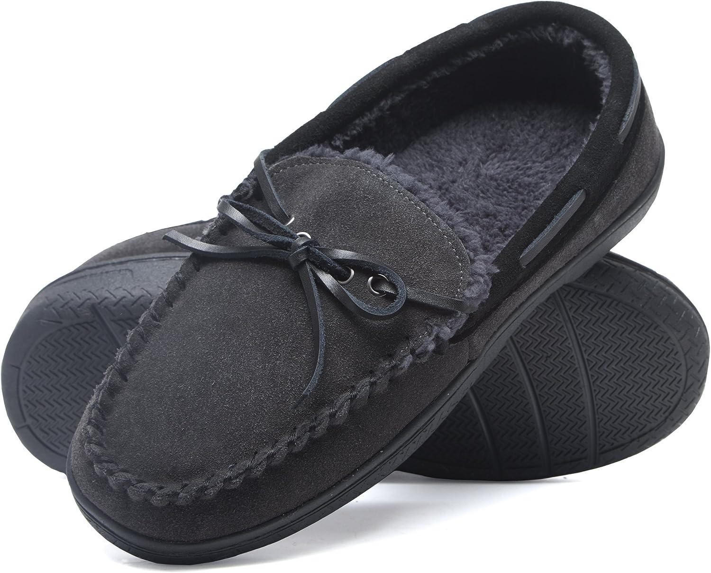 Heat Edge Mens Memory Foam Suede Slip On Indoor Outdoor Moccasin Slipper Shoe
