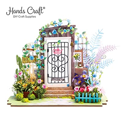 Hands Craft DGM02 (Garden Entrance), DIY 3D Wooden Miniature Dollhouse Build Your Own Crafting Kit with Real LED Lights, Educational STEM Hobby Project for Kids (14) and Adults: Arts, Crafts & Sewing