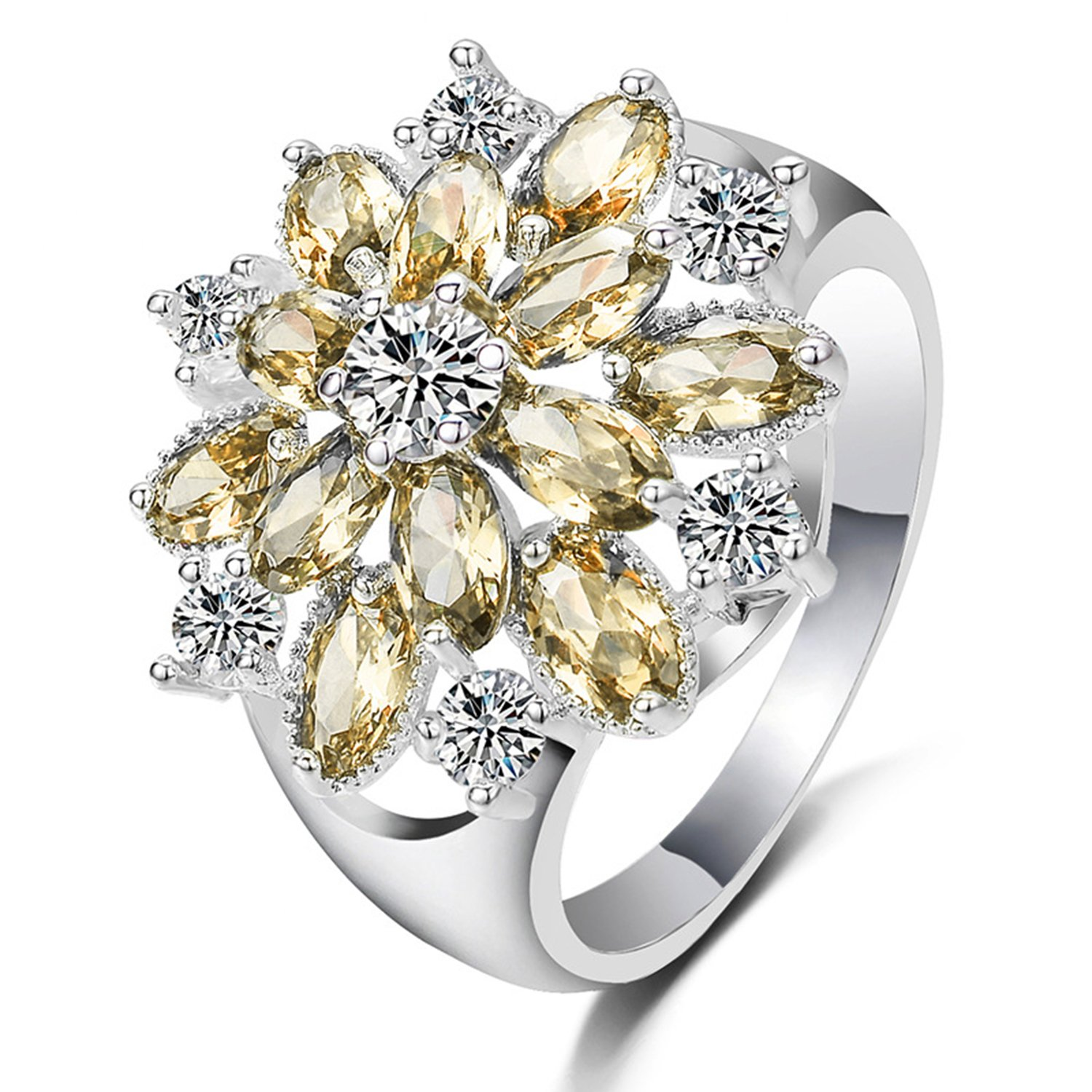LILILEO Jewelry S925 Simple Flower Shape Inlaid Yellow Zircon Ring For Women's Wedding Rings by LILILEO