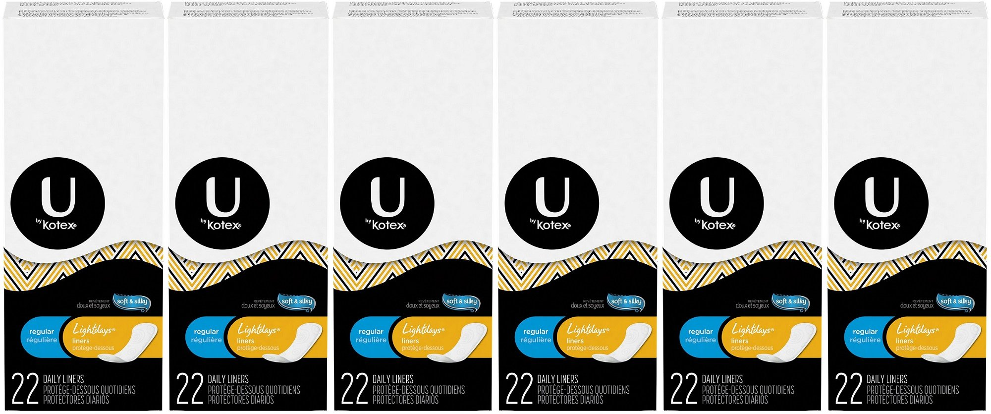 U by Kotex Lightdays Liners, Regular, Unscented, 22 Count (Pack of 6)
