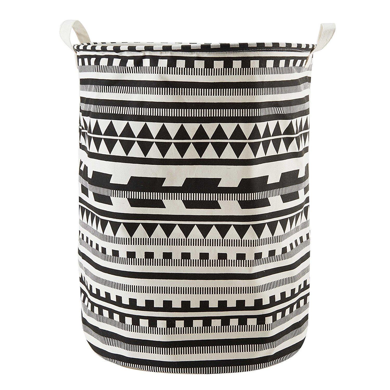 kanggest cartamodello cartamodello geometrico secchio pieghevole in lino e cotone cesto per la biancheria sporca, Borsa portaoggetti per biancheria. Botte Durable per biancheria Nero