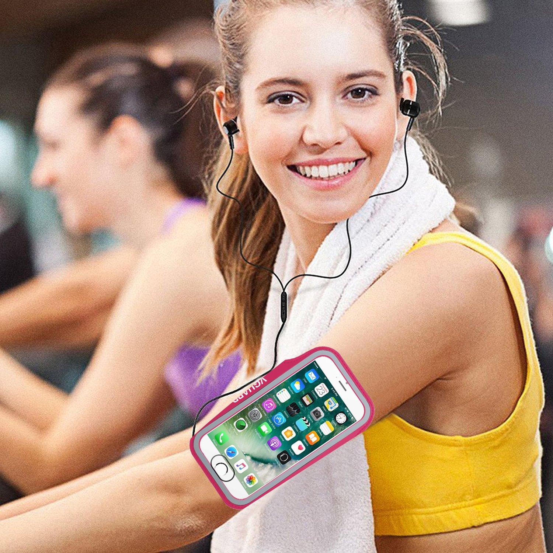 VGUARD Brazalete Deportivo para 5.1 Pulgados Moviles iPhone 8 7 6s 6 Caja del Brazalete Antideslizante para Deportes con Soporte para Llaves Tarjetas y Banda Reflectante Verde Cables