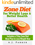 Zone Diet For Weight Loss & Better Health (Includes a 7-Day Meal Plan to Lose Weight Now) (Zone diet, Zone diet recipes, Zone diet cookbook, Zone diet ... diet food, Zone diet for beginners Book 1)