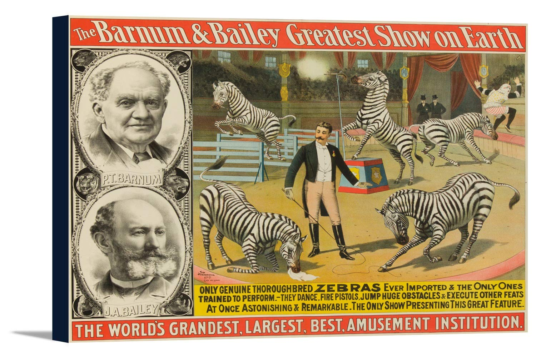 P。T。バーナムとベイリー – シマウマヴィンテージポスターUSA C。1892 36 x 24 Gallery Canvas LANT-3P-SC-62867-24x36 B0184AWAXM  36 x 24 Gallery Canvas