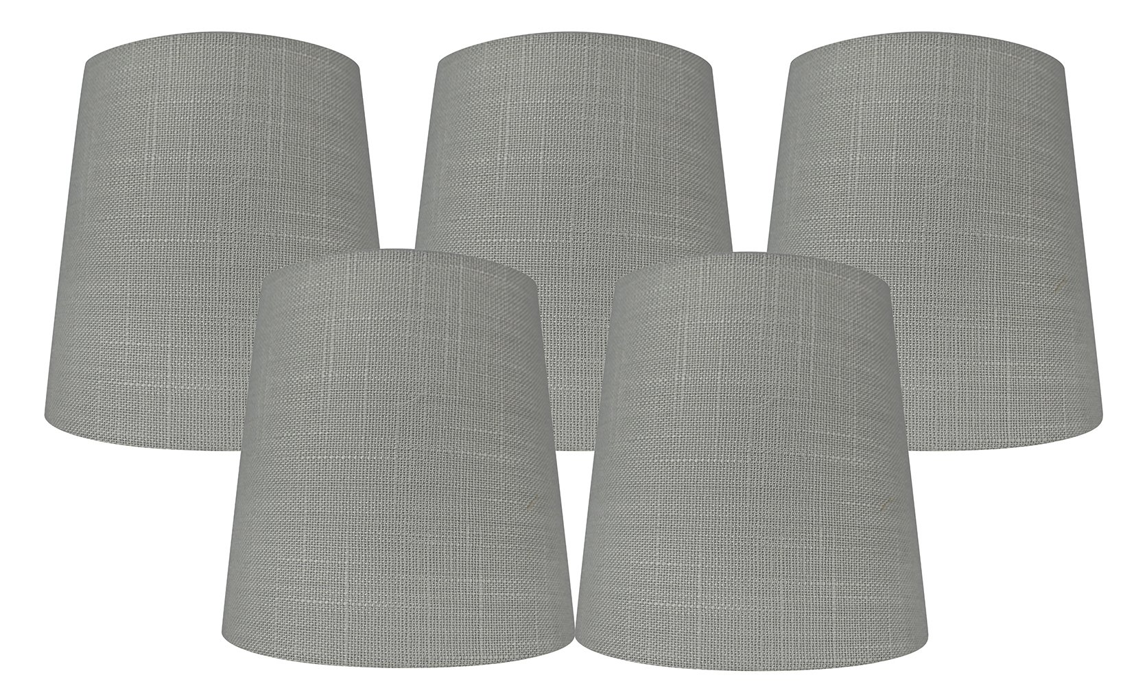 Meriville Set of 5 Gray Linen Clip On Chandelier Lamp Shades, 4-inch by 5-inch by 5-inch (Grey, set of 5)