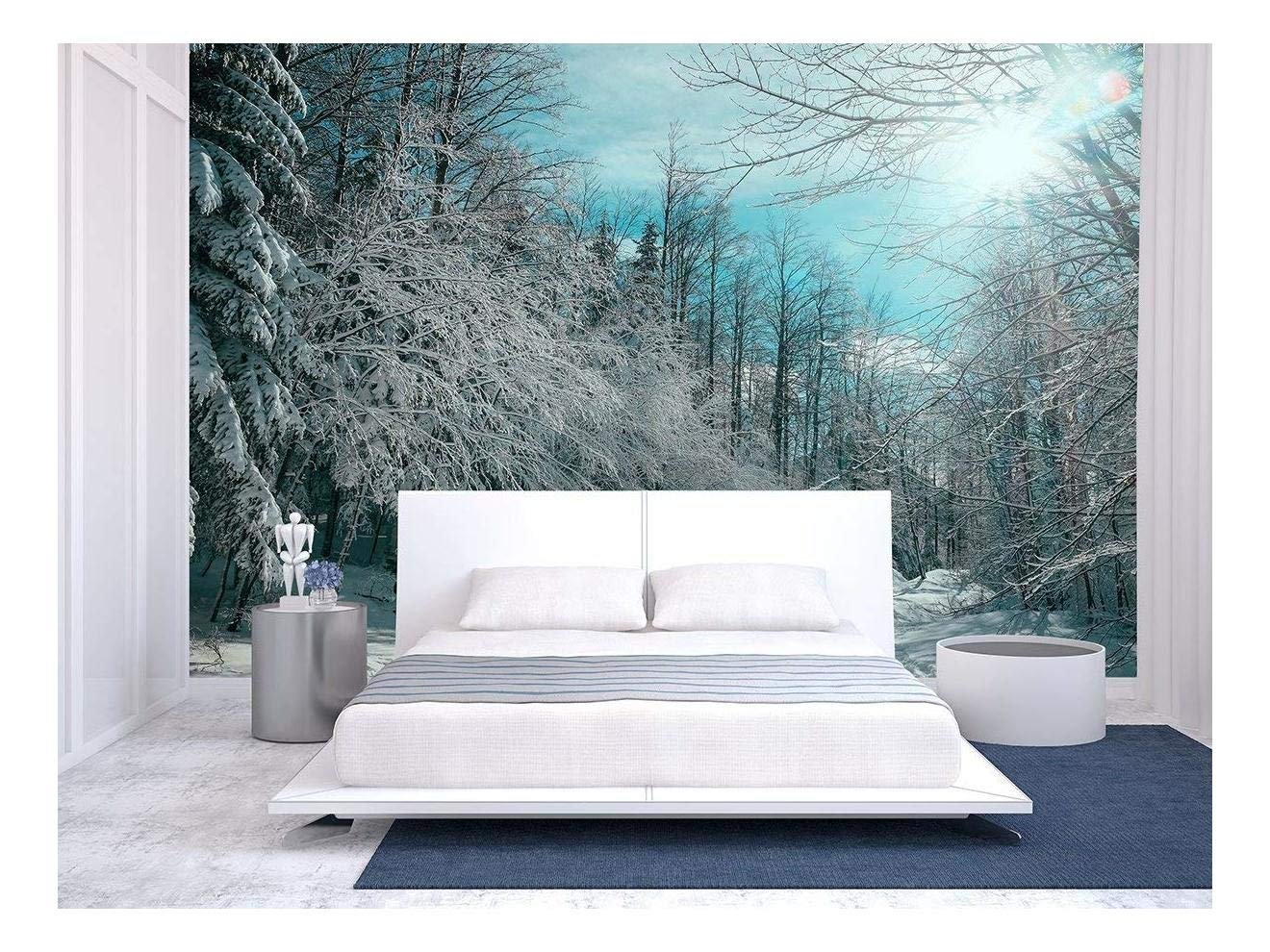 Large Wall Mural Snow Covered Trees In Winter Forest Vinyl