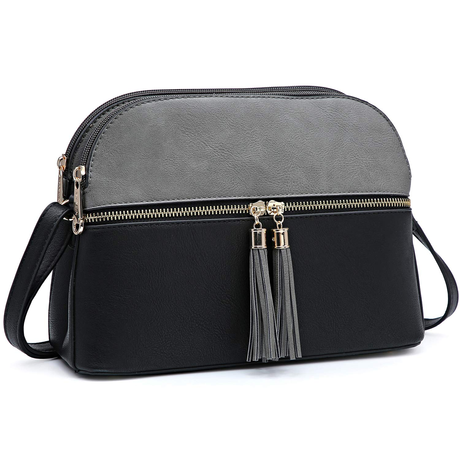 8147grey Black Functional Lightweight Crossbody bags for Women Simple Double Zip Around Should Bags Wallet Card Case Holder Organizer