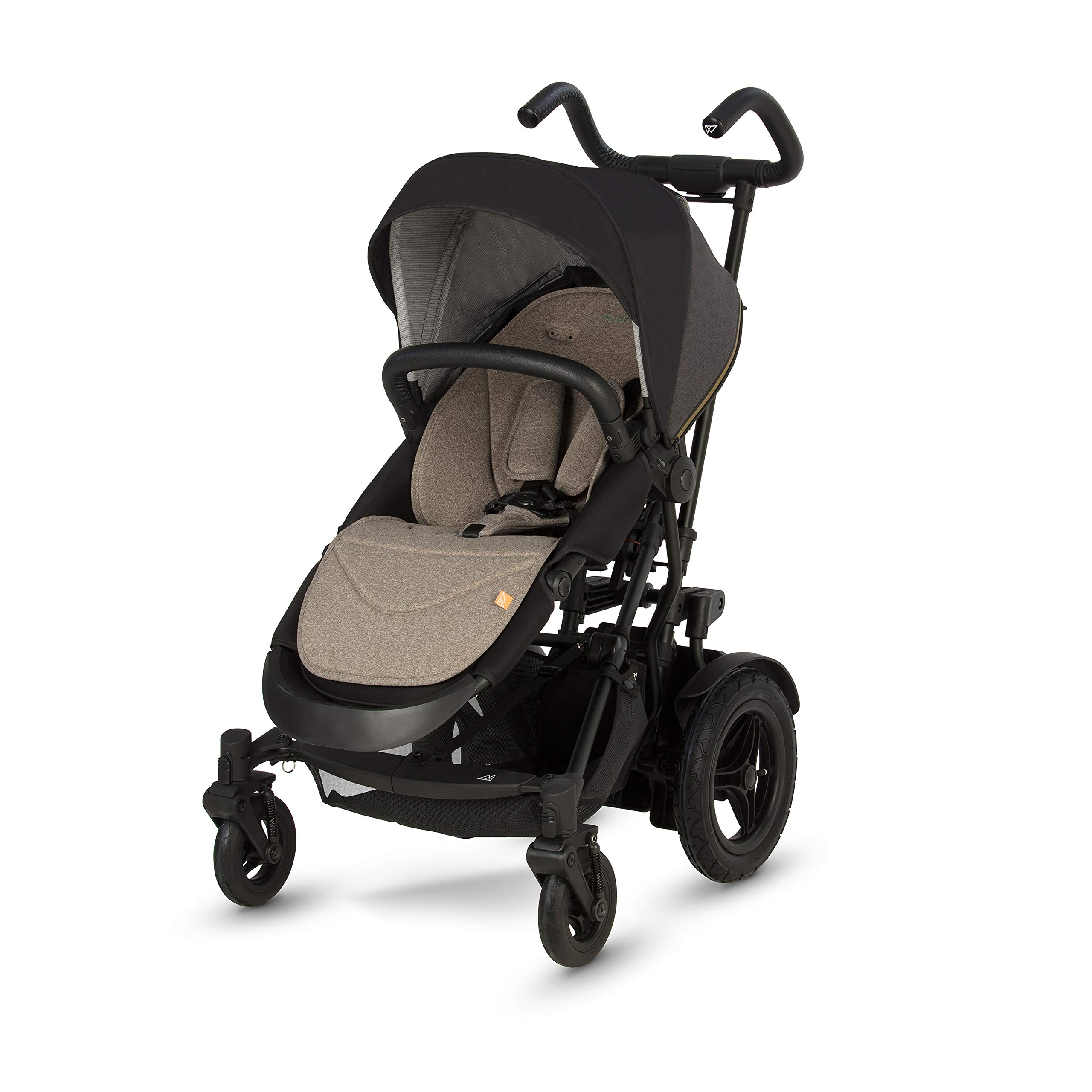 Micralite TwoFold All Terrain 2 in 1 Travel System Stroller - from Single to Double in Seconds - Built in Kick Board and Puncture Proof Tires (Carbon)